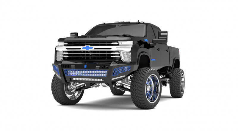 Road Armor iDentity Front Bumper (20+ Chevy 2500/3500)   Raw Steel/No Shackles/Double Cube Light Pods/Mesh Hyve Pattern/HDWR Kit