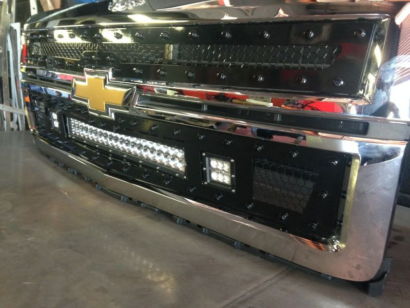 ... OLB 2014 15 Chevrolet 1500 Silverado LED Light Bar Grille Inserts