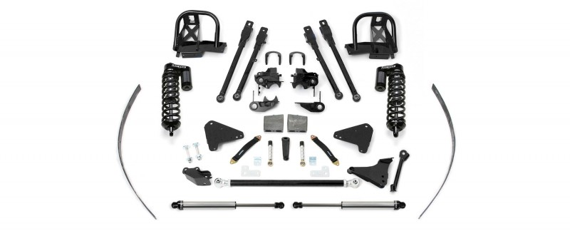 """Fabtech 8"""" Dirt Logic SS 4.0 Coilovers w/   Rear Dirt Logic SS Shocks & Add-a-Leafs, Block & U-bolt Kit - 2000-04 Ford F250/F350 4WD"""