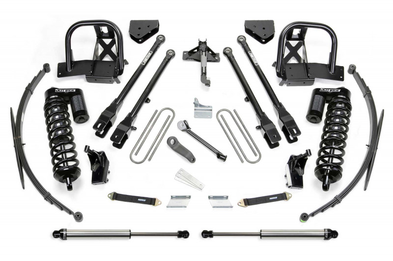 """Fabtech 8"""" 4 Link System w/   Dirt Logic SS 4.0 Coilovers & Rear Dirt Logic SS Shocks - 2008-10 Ford F250/F350 4WD"""