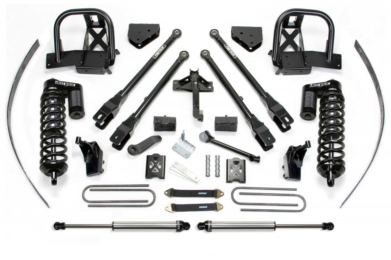 "Fabtech 8"" 4 Link System w/   Dirt Logic SS 4.0 Coilovers & Rear Dirt Logic SS Shocks - 2005-07 Ford F250 4WD w/   Factory Overload"