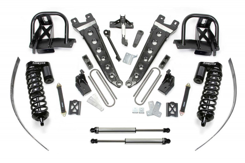 """Fabtech 8"""" Radius Arm System w/   Dirt Logic SS 4.0 Coilovers & Rear Dirt Logic SS Shocks - 2011-16 Ford F250 4WD w/  Factory Overload"""