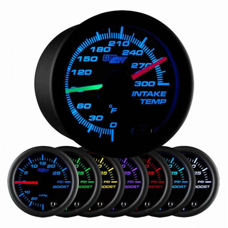 GlowShift Black 7 Color Dual Intake Temperature Gauge