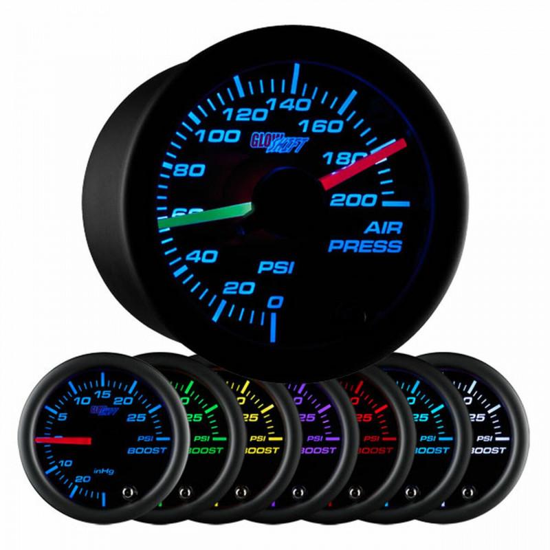GlowShift Black 7 Color Dual Needle Air Pressure Gauge