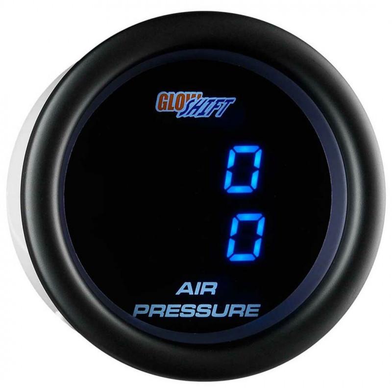 GlowShift Black 7 Color Dual Digital Air Pressure Gauge