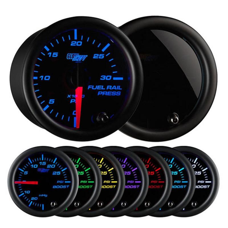 GlowShift Tinted 7 Color 30,000 PSI Fuel Rail Pressure Gauge (2003-2018 Dodge Ram 5.9/6.7L Cummins | 2002-2018 Chevrolet/GMC Silverado/Sierra 6.6L Duramax)