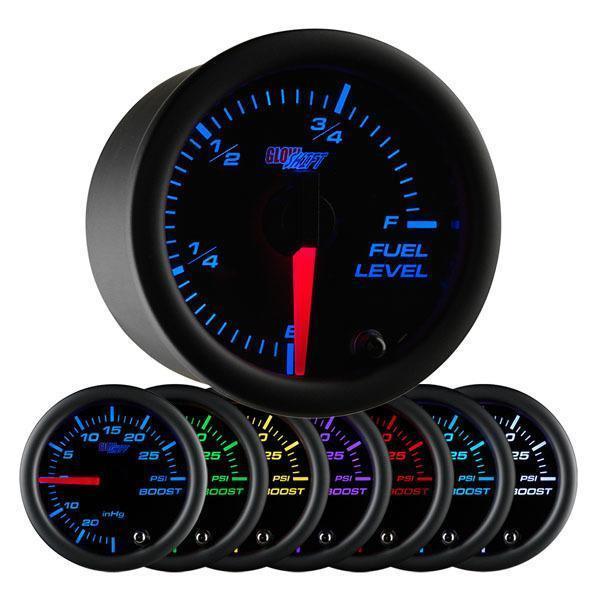 GlowShift Black 7-Color Fuel Level Gauge