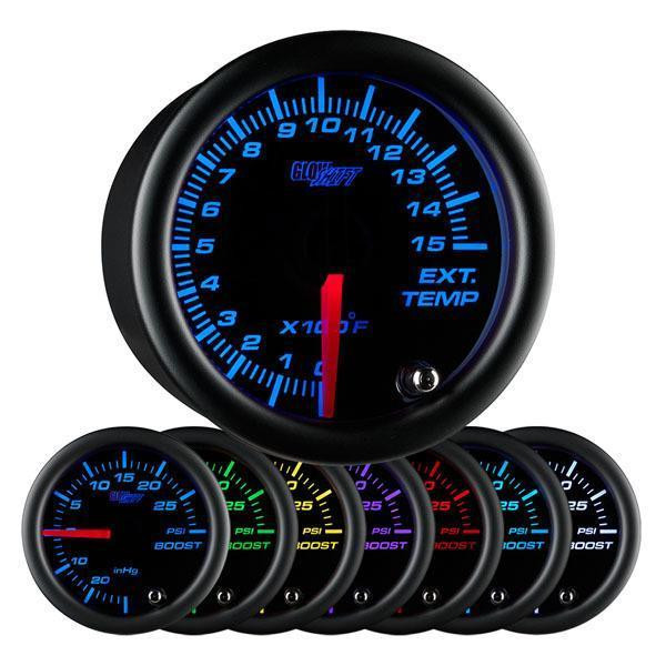 GlowShift Black 7 Color 1500 degree F Exhaust Gas Temperature Gauge