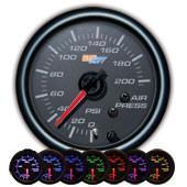 GlowShift Black 7 Color 200 PSI Air Pressure Gauge