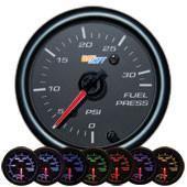 GlowShift Black 7 Color 30 PSI Fuel Pressure Gauge