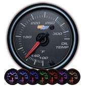 GlowShift Black 7 Color Oil Temperature Gauge