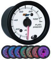 GlowShift White 7 Color 100 PSI Fuel Pressure Gauge