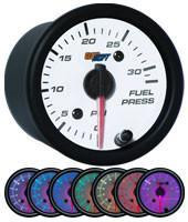 GlowShift White 7 Color 30 PSI Fuel Pressure Gauge