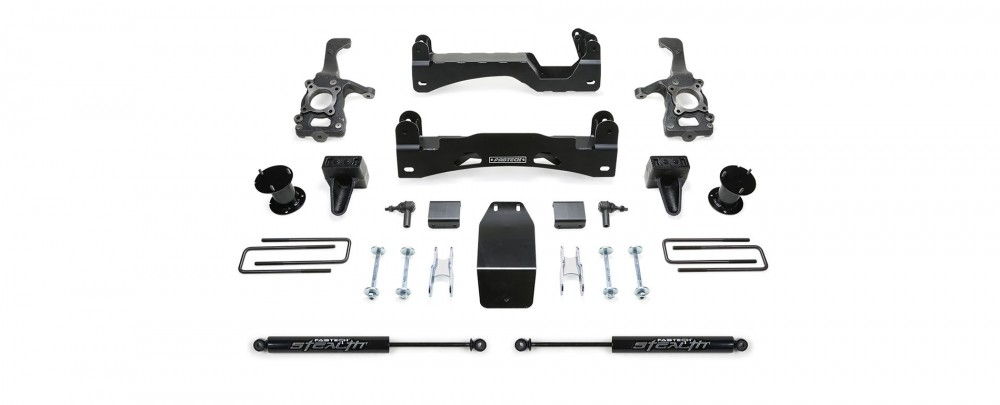 """Fabtech 6"""" Basic System w/   Front Stock Coilover Spacers & Rear Shocks - 2015-18 Ford F150 4WD"""