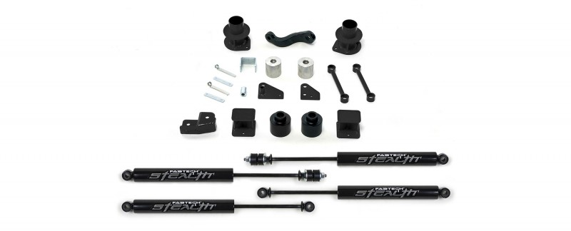 "Fabtech 3"" Spacer System w/   Stealth Shocks - 2007-16 Jeep JK 2/4-door 4WD"