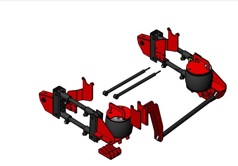 Kelderman Stock Height 4-Link Rear Air Suspension w/Rear Sway Bar/Radius Arm Front Suspension Trucks (13-18 Ram 3500 4WD)