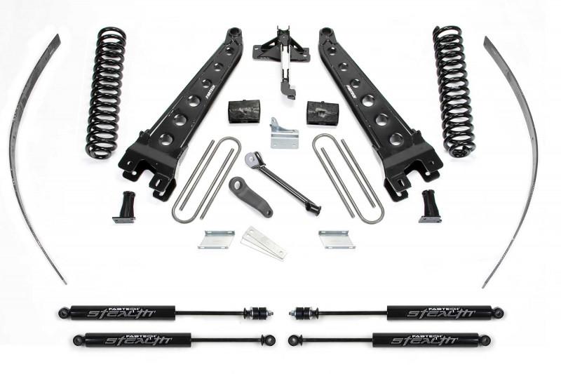 "Fabtech 8"" Radius Arm System w/   Stealth Shocks - 2008-16 Ford F250 4WD w/o   Factory Overload"