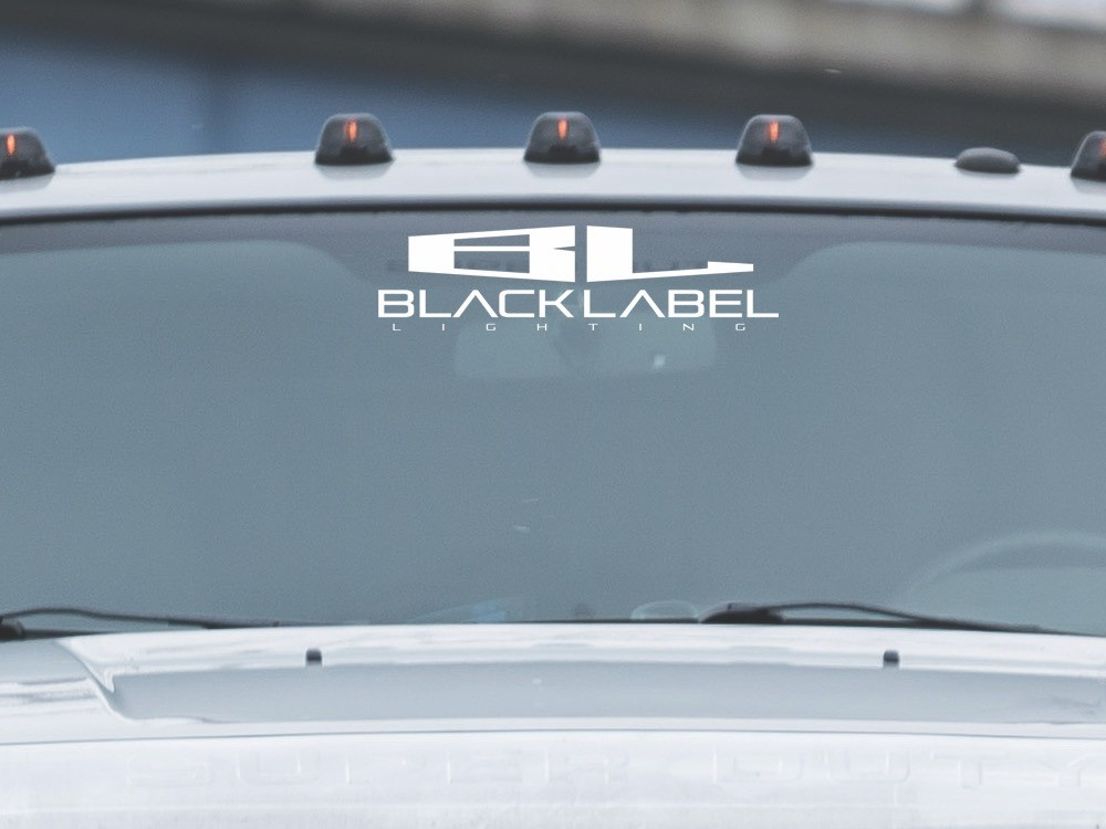 "12"" Vinyl ""stacked"" Black Label Lighting decal"