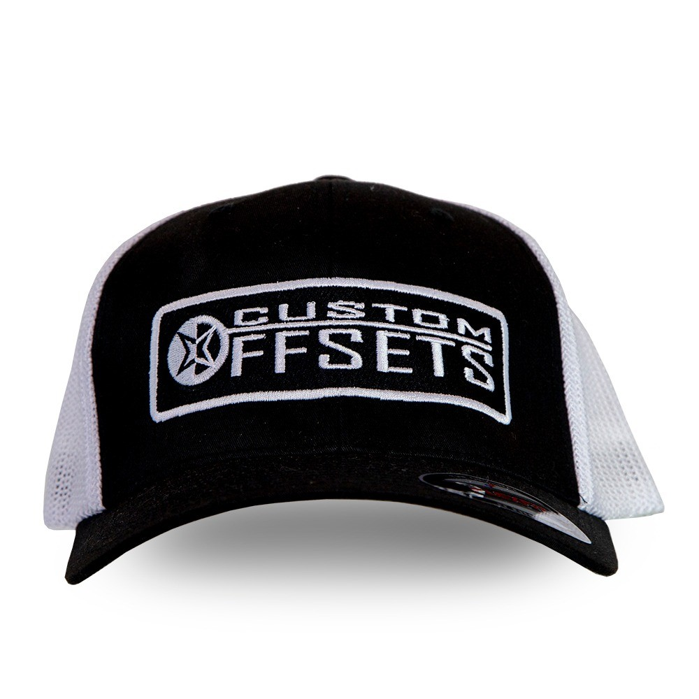 Trucker Hat - Fitted mesh Custom Offsets white and black