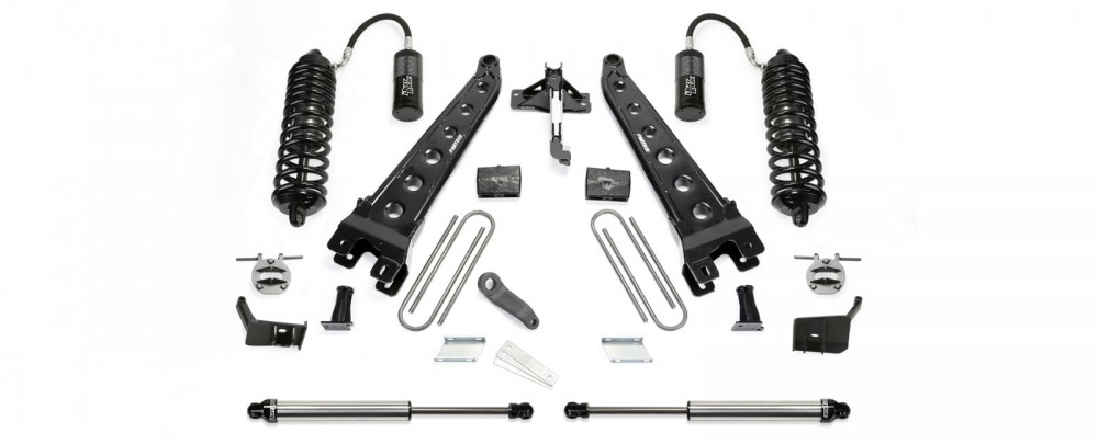 "Fabtech 6"" Radius Arm System w/   Front Dirt Logic 4.0 Resi Coilovers & Rear Dirt Logic 2.25 Shocks - 2017 Ford F250/F350 4WD"