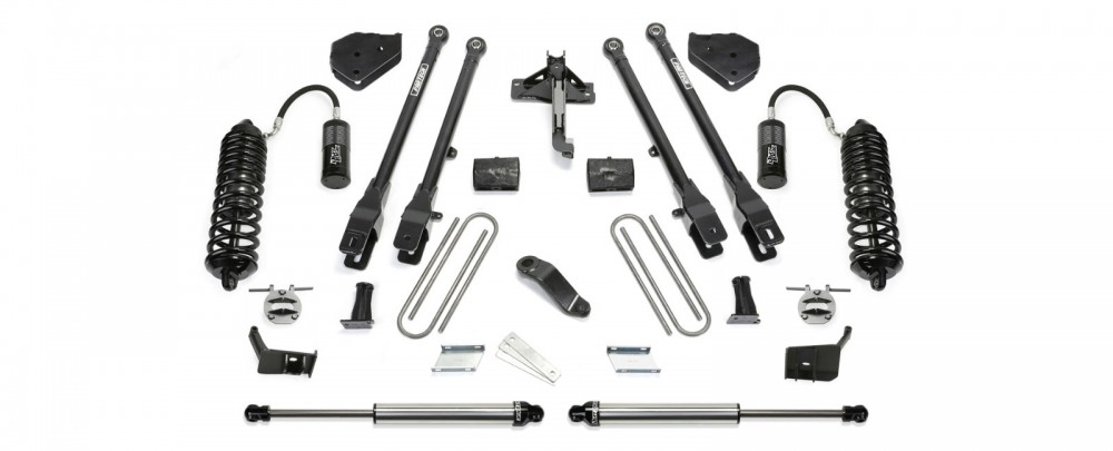 "Fabtech 6"" 4 Link System w/   Front Dirt Logic 4.0 Resi Coilovers & Rear Dirt Logic 2.25 Shocks - 2017 Ford F250/F350 4WD"