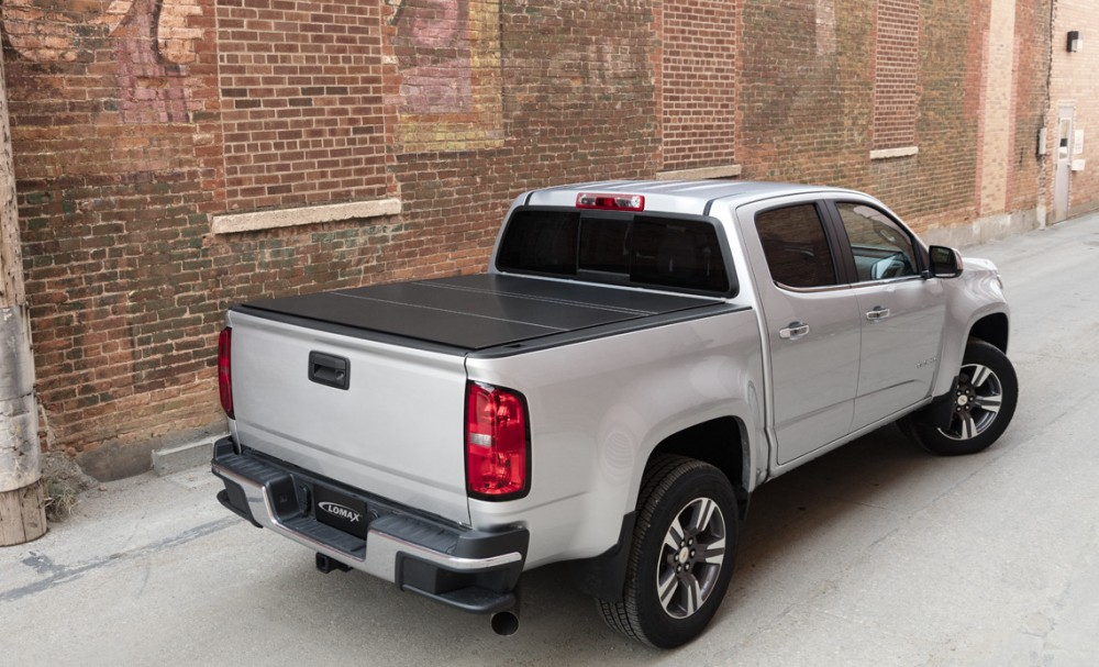 lomax hard tri fold tonneau cover chevy gmc colorado. Black Bedroom Furniture Sets. Home Design Ideas