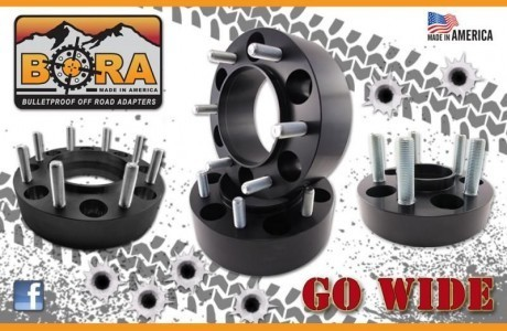 "Aluminum Bora Spacers (2) 1"" and (2) 2"" for 5 and 6 lug All makes and models"