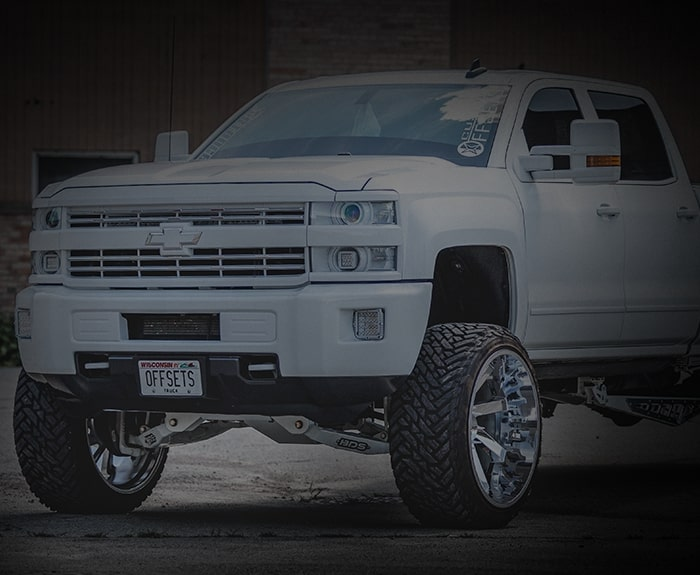 White Ford F-250 with lift kit