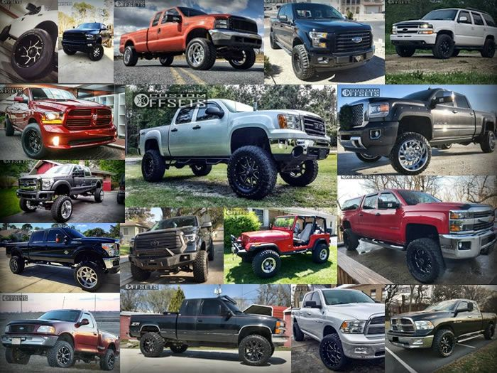 Collage of different trucks with wheels and suspension lifts