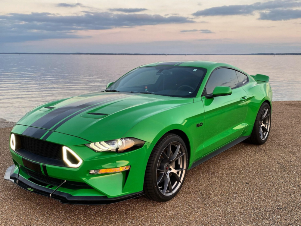 Green Mustang with Aftermarket Wheels