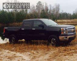 2015 Chevrolet Silverado 1500 - 18x9 0mm - Tis 535mb - Leveling Kit - 305/60R18