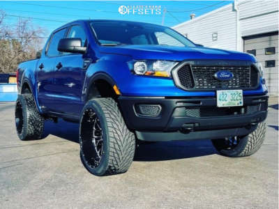 """2019 Ford Ranger - 22x12 -51mm - Xtreme Force Xf10 - Suspension Lift 2.5"""" - 32"""" x 12.5"""""""