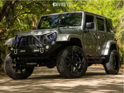 "2016 Jeep Wrangler - 20x10 -24mm - Tuff T15 - Suspension Lift 4"" - 33"" x 12.5"""