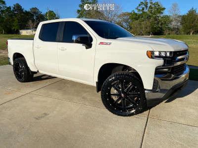 2021 Chevrolet Silverado 1500 - 22x10 -24mm - Ballistic Rage 959 - Leveling Kit - 305/45R22