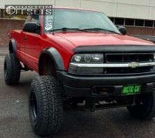 """2000 Chevrolet S10 - 15x12 -63mm - Black Rock 942b - Lifted >9"""" - 33"""" x 12.5"""""""