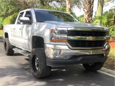 "2018 Chevrolet Silverado 1500 - 18x10 -24mm - Moto Metal Mo970 - Suspension Lift 7"" - 33"" x 12.5"""