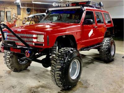 """1998 Jeep Cherokee - 15x14 -76mm - Bassett 54sf45s - Suspension Lift 6.5"""" - 35"""" x 12.5"""""""