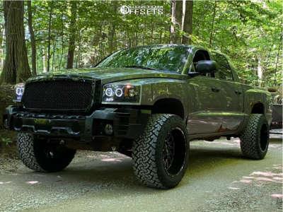 "2005 Dodge Dakota - 20x12 -51mm - Hardrock Overdrive H708 - Suspension Lift 3"" - 33"" x 12.5"""