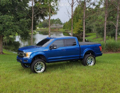 """2018 Ford F-150 - 24x12 -40mm - Ruthless Forged Guilt - Suspension Lift 7"""" - 325/45R24"""