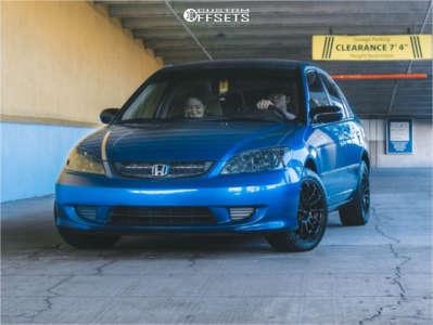 2005 Honda Civic - 15x7 40mm - Konig Dial In - Stock Suspension - 205/50R15