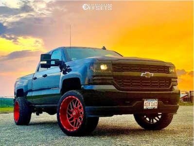 "2017 Chevrolet Silverado 1500 - 22x12 -44mm - Tis 544rm - Leveling Kit - 33"" x 12.5"""