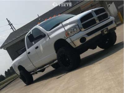 "2005 Dodge Ram 3500 - 18x12 -44mm - Fuel Hostage - Suspension Lift 3"" - 33"" x 12.5"""