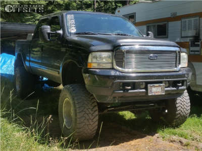 """2002 Ford F-350 - 18x12 -44mm - Weld Racing Renegade - Suspension Lift 10"""" - 38"""" x 15.5"""""""