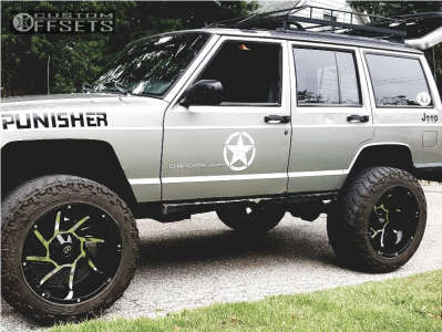 """2000 Jeep Cherokee - 20x12 -51mm - Vision Prowler - Suspension Lift 4"""" - 33"""" x 12.5"""""""