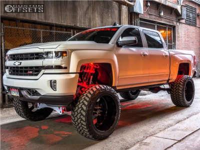 "2016 Chevrolet Silverado 1500 - 24x14 -73mm - American Force Blade Ss - Suspension Lift 10"" - 375/40R24"