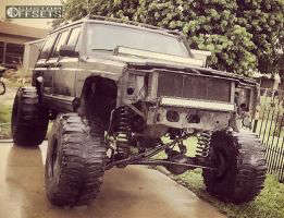 """1994 Jeep Cherokee - 15x14 -76mm - Bart Super Trucker - Lifted >9"""" - 35"""" x 14.5"""""""