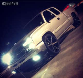 "2006 Chevrolet Silverado 1500 - 24x10 30mm - Gima Element 6 - Level 2"" Drop Rear - 305/35R24"