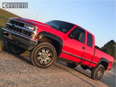 1998 Chevrolet K2500 - 17x8 0mm - Helo He835 - Stock Suspension - 285/70R17