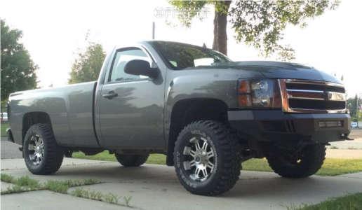 """2011 Chevrolet Silverado 1500 - 17x10 -25mm - Dale Jr Cannon Dj1091 - Suspension Lift 2.5"""" - 33"""" x 12.5"""""""