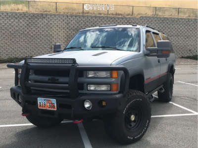 "1998 Chevrolet K2500 Suburban - 16x8 -6mm - Black Rock Type 8 - Suspension Lift 4"" - 315/75R16"